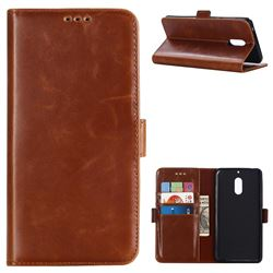 Luxury Crazy Horse PU Leather Wallet Case for Nokia 6 Nokia6 - Brown