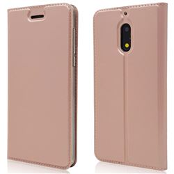 Ultra Slim Card Magnetic Automatic Suction Leather Wallet Case for Nokia 6 Nokia6 - Rose Gold