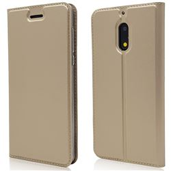 Ultra Slim Card Magnetic Automatic Suction Leather Wallet Case for Nokia 6 Nokia6 - Champagne
