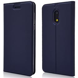 Ultra Slim Card Magnetic Automatic Suction Leather Wallet Case for Nokia 6 Nokia6 - Royal Blue