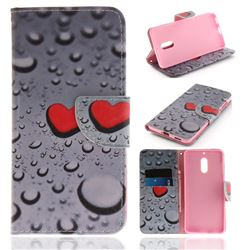 Heart Raindrop PU Leather Wallet Case for Nokia 6 Nokia6