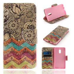 Wave Flower PU Leather Wallet Case for Nokia 6 Nokia6