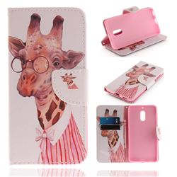 Pink Giraffe PU Leather Wallet Case for Nokia 6 Nokia6