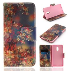 Colored Flowers PU Leather Wallet Case for Nokia 6 Nokia6