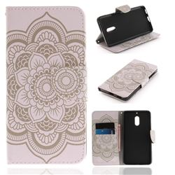 White Flowers PU Leather Wallet Case for Nokia 6 Nokia6