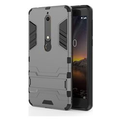 Armor Premium Tactical Grip Kickstand Shockproof Dual Layer Rugged Hard Cover for Nokia 6 (2018) - Gray