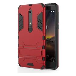 Armor Premium Tactical Grip Kickstand Shockproof Dual Layer Rugged Hard Cover for Nokia 6 (2018) - Wine Red