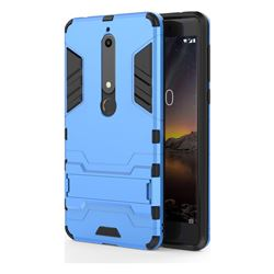 Armor Premium Tactical Grip Kickstand Shockproof Dual Layer Rugged Hard Cover for Nokia 6 (2018) - Light Blue
