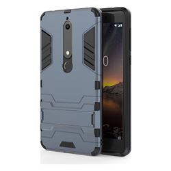 Armor Premium Tactical Grip Kickstand Shockproof Dual Layer Rugged Hard Cover for Nokia 6 (2018) - Navy