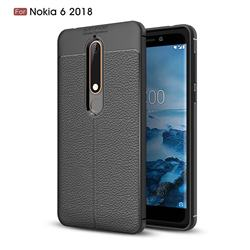 Luxury Auto Focus Litchi Texture Silicone TPU Back Cover for Nokia 6 (2018) - Black