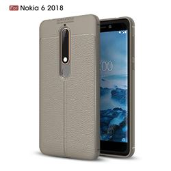 Luxury Auto Focus Litchi Texture Silicone TPU Back Cover for Nokia 6 (2018) - Gray