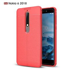 Luxury Auto Focus Litchi Texture Silicone TPU Back Cover for Nokia 6 (2018) - Red