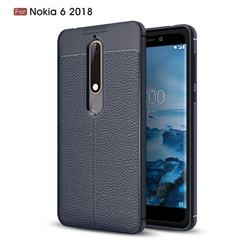 Luxury Auto Focus Litchi Texture Silicone TPU Back Cover for Nokia 6 (2018) - Dark Blue