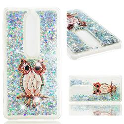 Seashell Owl Dynamic Liquid Glitter Quicksand Soft TPU Case for Nokia 6 (2018)