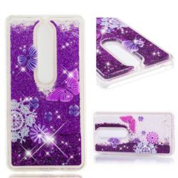 Purple Flower Butterfly Dynamic Liquid Glitter Quicksand Soft TPU Case for Nokia 6 (2018)