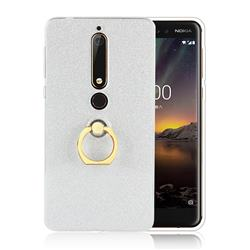 Luxury Soft TPU Glitter Back Ring Cover with 360 Rotate Finger Holder Buckle for Nokia 6 (2018) - White