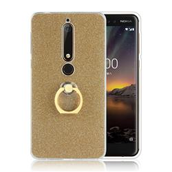 Luxury Soft TPU Glitter Back Ring Cover with 360 Rotate Finger Holder Buckle for Nokia 6 (2018) - Golden