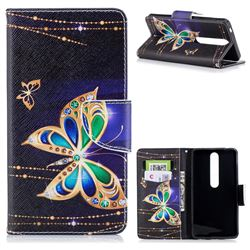 Golden Shining Butterfly Leather Wallet Case for Nokia 6 (2018)