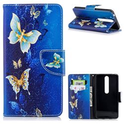 Golden Butterflies Leather Wallet Case for Nokia 6 (2018)