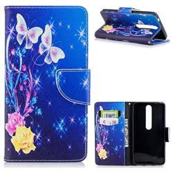 Yellow Flower Butterfly Leather Wallet Case for Nokia 6 (2018)