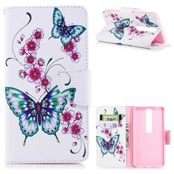 Peach Butterflies Leather Wallet Case for Nokia 6 (2018)