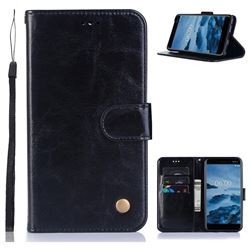 Luxury Retro Leather Wallet Case for Nokia 6 (2018) - Black