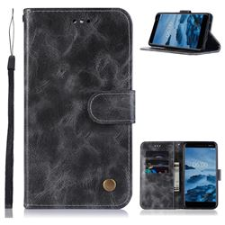Luxury Retro Leather Wallet Case for Nokia 6 (2018) - Gray