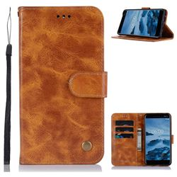 Luxury Retro Leather Wallet Case for Nokia 6 (2018) - Golden