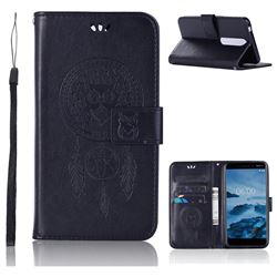 Intricate Embossing Owl Campanula Leather Wallet Case for Nokia 6 (2018) - Black