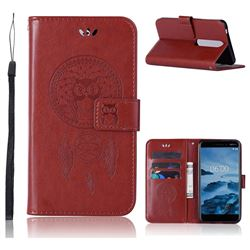 Intricate Embossing Owl Campanula Leather Wallet Case for Nokia 6 (2018) - Brown