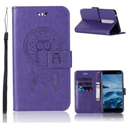 Intricate Embossing Owl Campanula Leather Wallet Case for Nokia 6 (2018) - Purple
