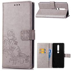 Embossing Imprint Four-Leaf Clover Leather Wallet Case for Nokia 6 (2018) - Grey