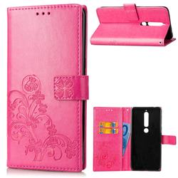 Embossing Imprint Four-Leaf Clover Leather Wallet Case for Nokia 6 (2018) - Rose