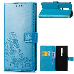 Embossing Imprint Four-Leaf Clover Leather Wallet Case for Nokia 6 (2018) - Blue