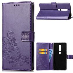Embossing Imprint Four-Leaf Clover Leather Wallet Case for Nokia 6 (2018) - Purple