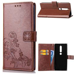 Embossing Imprint Four-Leaf Clover Leather Wallet Case for Nokia 6 (2018) - Brown