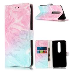 Pink Green Marble PU Leather Wallet Case for Nokia 6 (2018)
