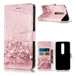 Glittering Rose Gold PU Leather Wallet Case for Nokia 6 (2018)