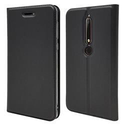 Ultra Slim Card Magnetic Automatic Suction Leather Wallet Case for Nokia 6 (2018) - Star Grey