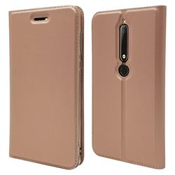 Ultra Slim Card Magnetic Automatic Suction Leather Wallet Case for Nokia 6 (2018) - Rose Gold