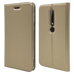 Ultra Slim Card Magnetic Automatic Suction Leather Wallet Case for Nokia 6 (2018) - Champagne