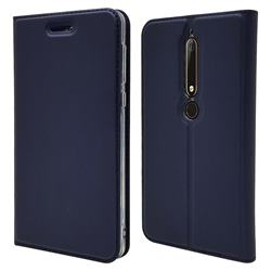 Ultra Slim Card Magnetic Automatic Suction Leather Wallet Case for Nokia 6 (2018) - Royal Blue