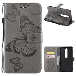 Embossing 3D Butterfly Leather Wallet Case for Nokia 6 (2018) - Gray