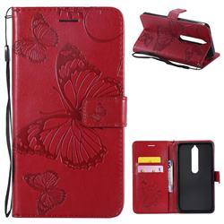 Embossing 3D Butterfly Leather Wallet Case for Nokia 6 (2018) - Red