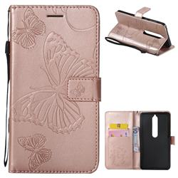 Embossing 3D Butterfly Leather Wallet Case for Nokia 6 (2018) - Rose Gold
