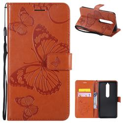 Embossing 3D Butterfly Leather Wallet Case for Nokia 6 (2018) - Orange