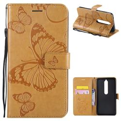 Embossing 3D Butterfly Leather Wallet Case for Nokia 6 (2018) - Yellow