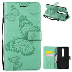 Embossing 3D Butterfly Leather Wallet Case for Nokia 6 (2018) - Green