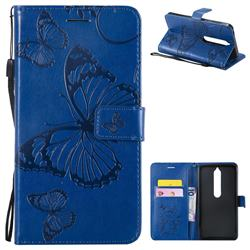 Embossing 3D Butterfly Leather Wallet Case for Nokia 6 (2018) - Blue