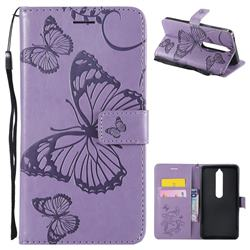 Embossing 3D Butterfly Leather Wallet Case for Nokia 6 (2018) - Purple